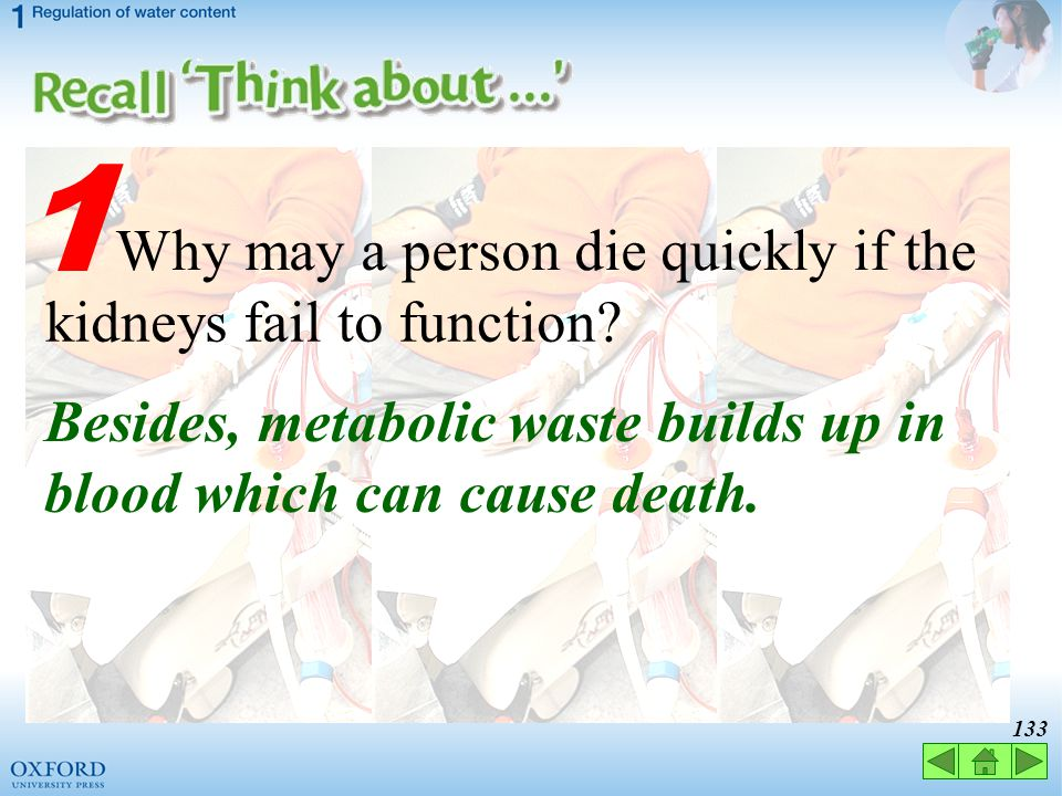 1 Why may a person die quickly if the kidneys fail to function
