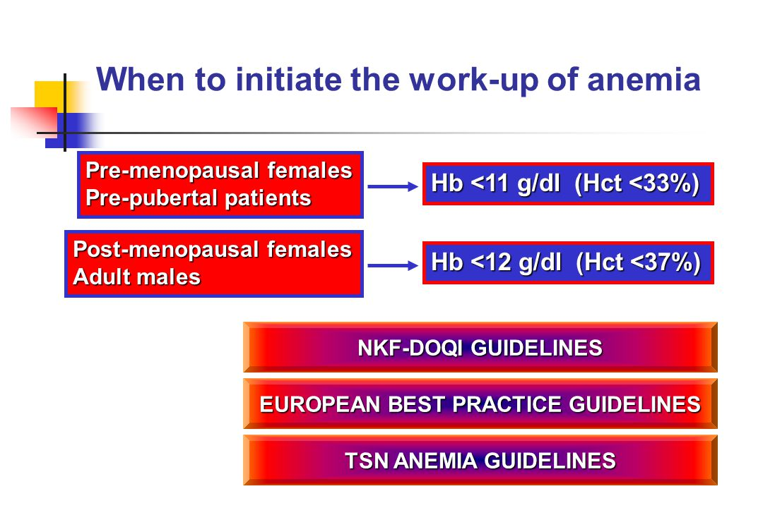 When to initiate the work-up of anemia