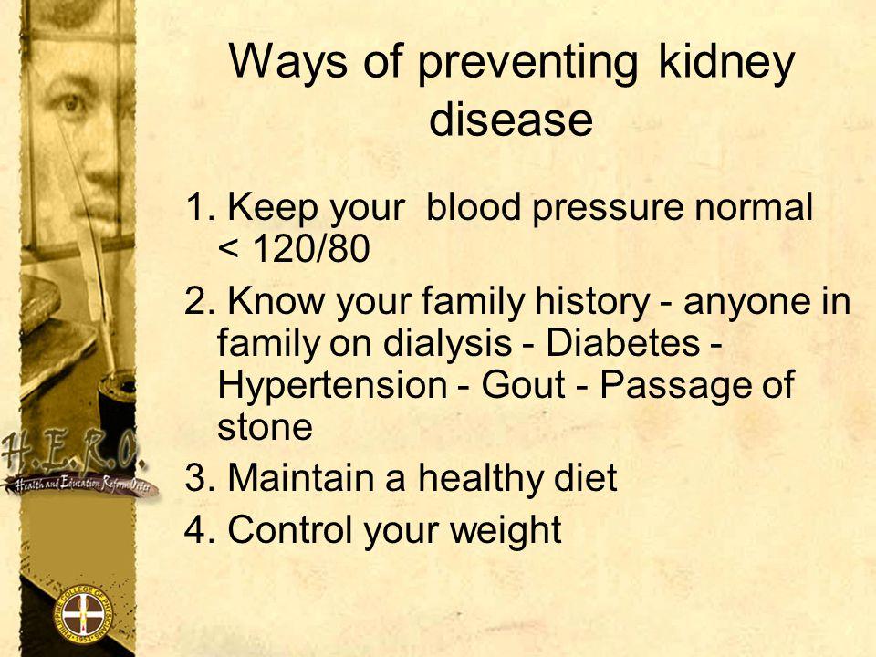 Ways of preventing kidney disease
