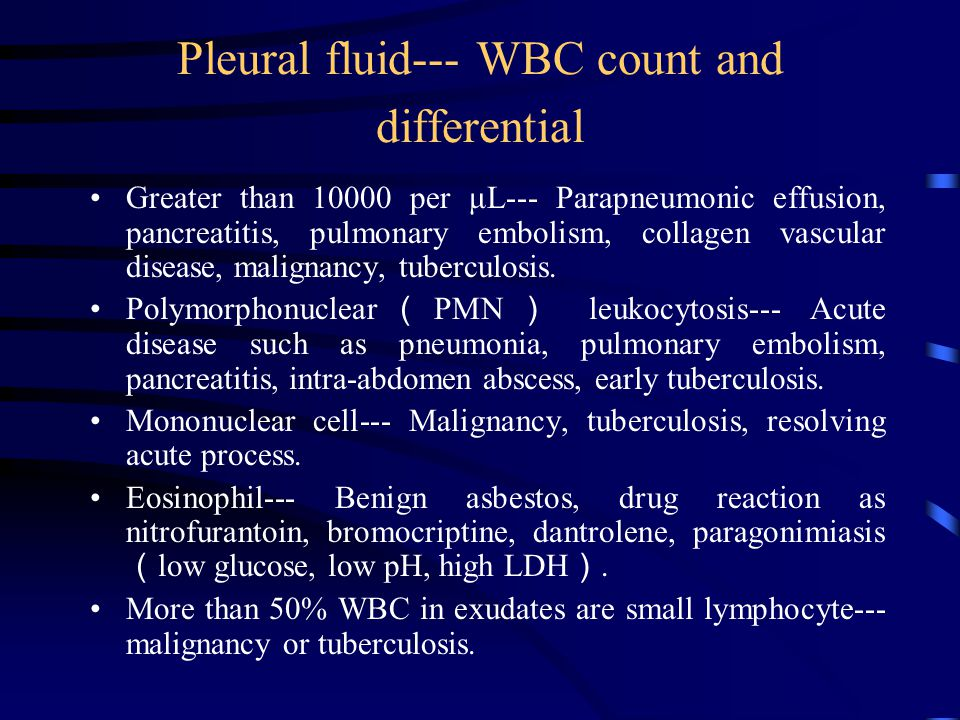 Pleural fluid--- WBC count and differential