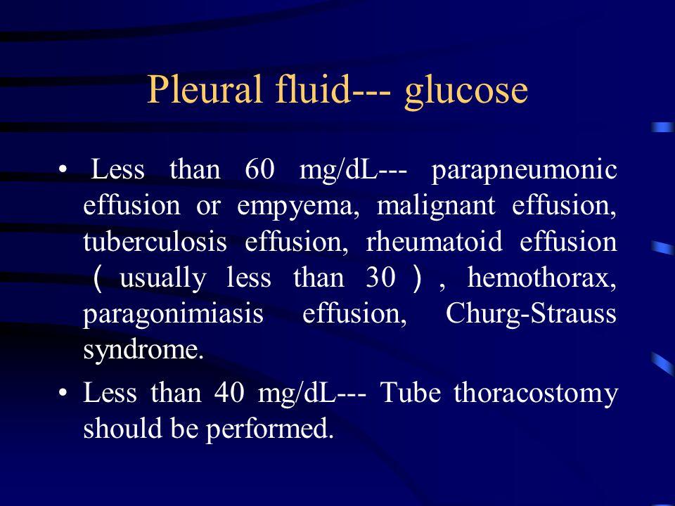 Pleural fluid--- glucose