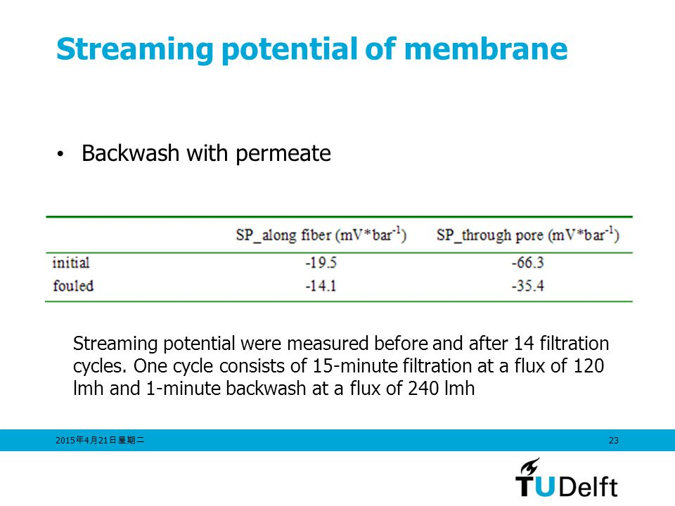 Streaming potential of membrane
