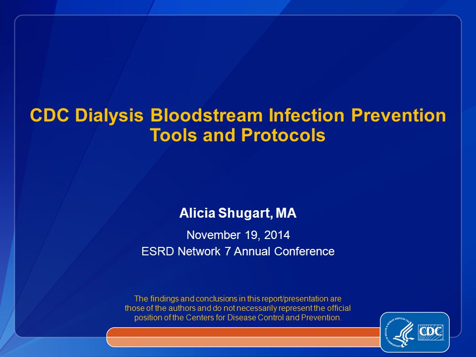 CDC Dialysis Bloodstream Infection Prevention Tools and Protocols