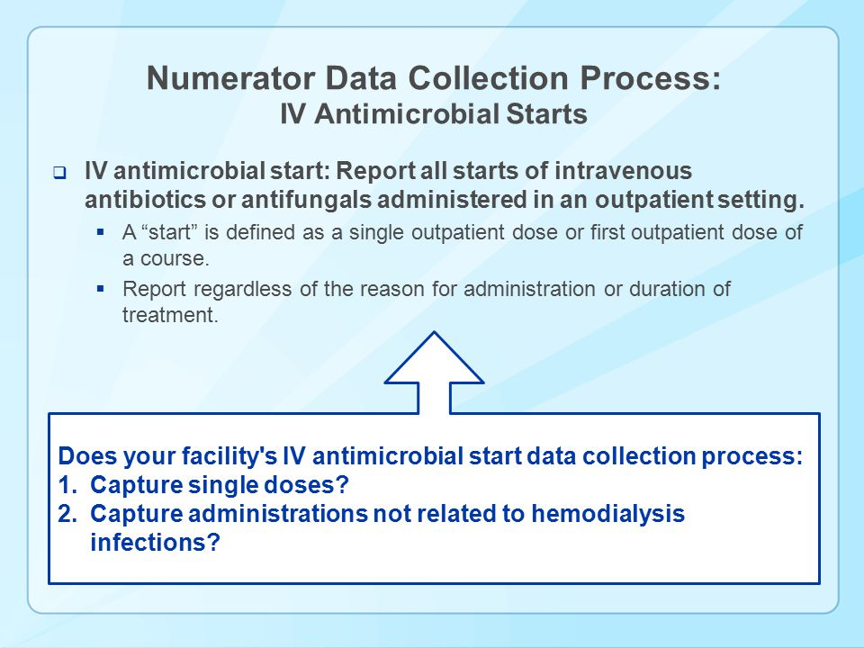 Numerator Data Collection Process: IV Antimicrobial Starts
