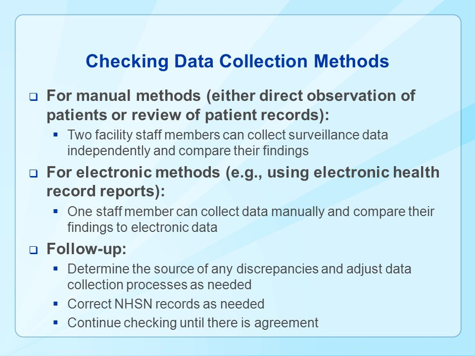 Checking Data Collection Methods