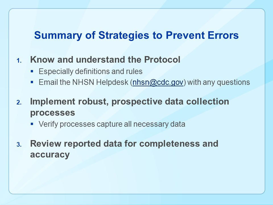 Summary of Strategies to Prevent Errors