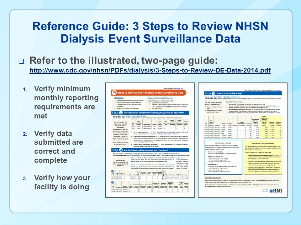 Reference Guide: 3 Steps to Review NHSN Dialysis Event Surveillance Data