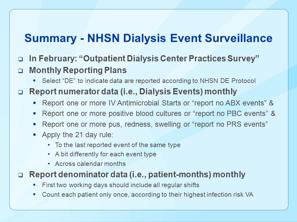 Summary - NHSN Dialysis Event Surveillance