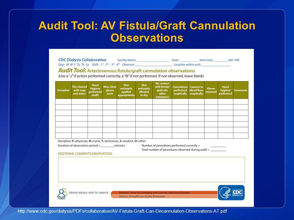 Audit Tool: AV Fistula/Graft Cannulation Observations