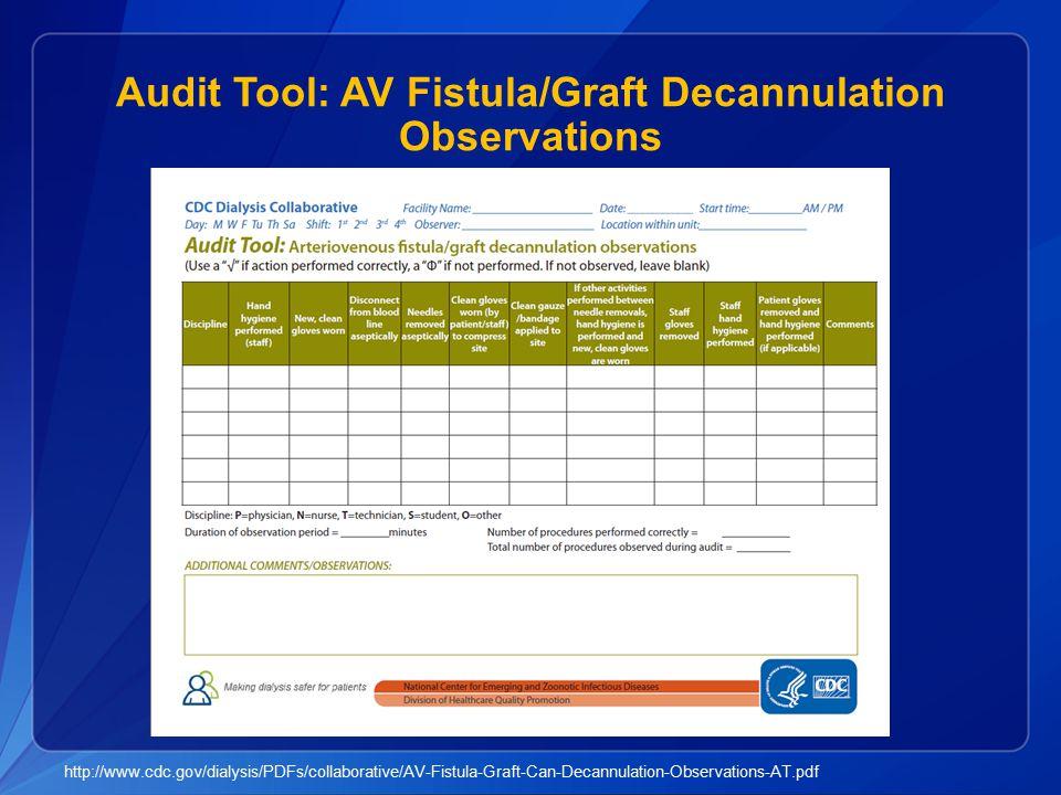 Audit Tool: AV Fistula/Graft Decannulation Observations