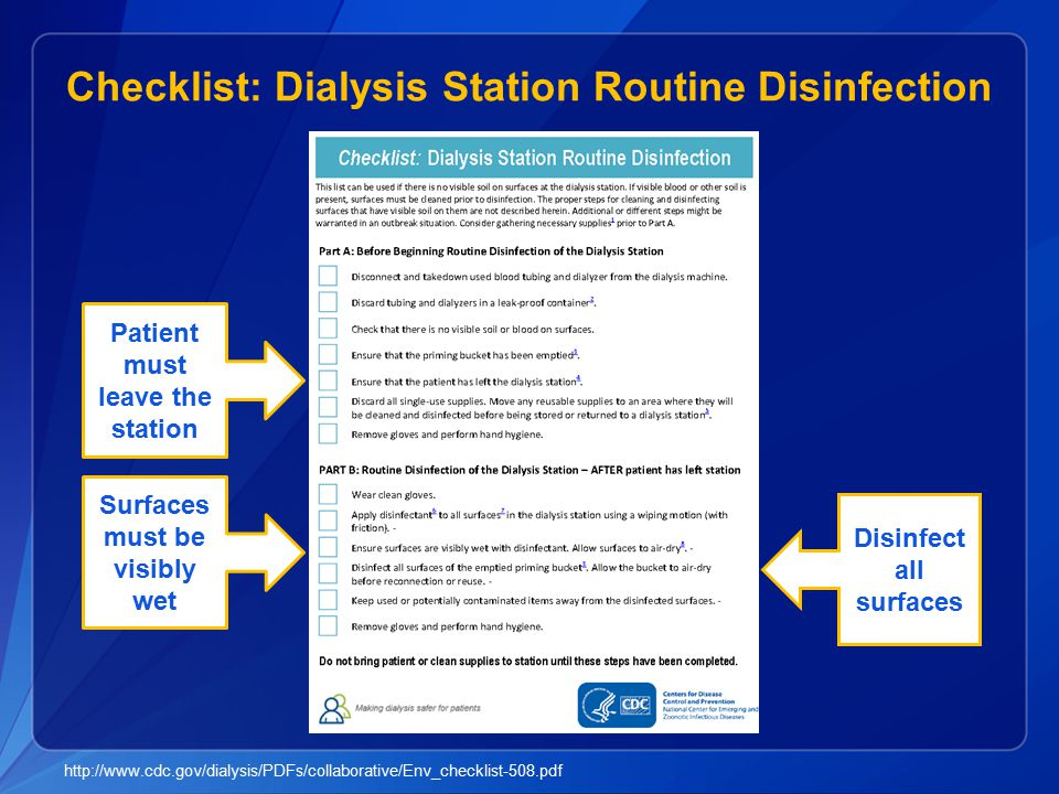 Checklist: Dialysis Station Routine Disinfection