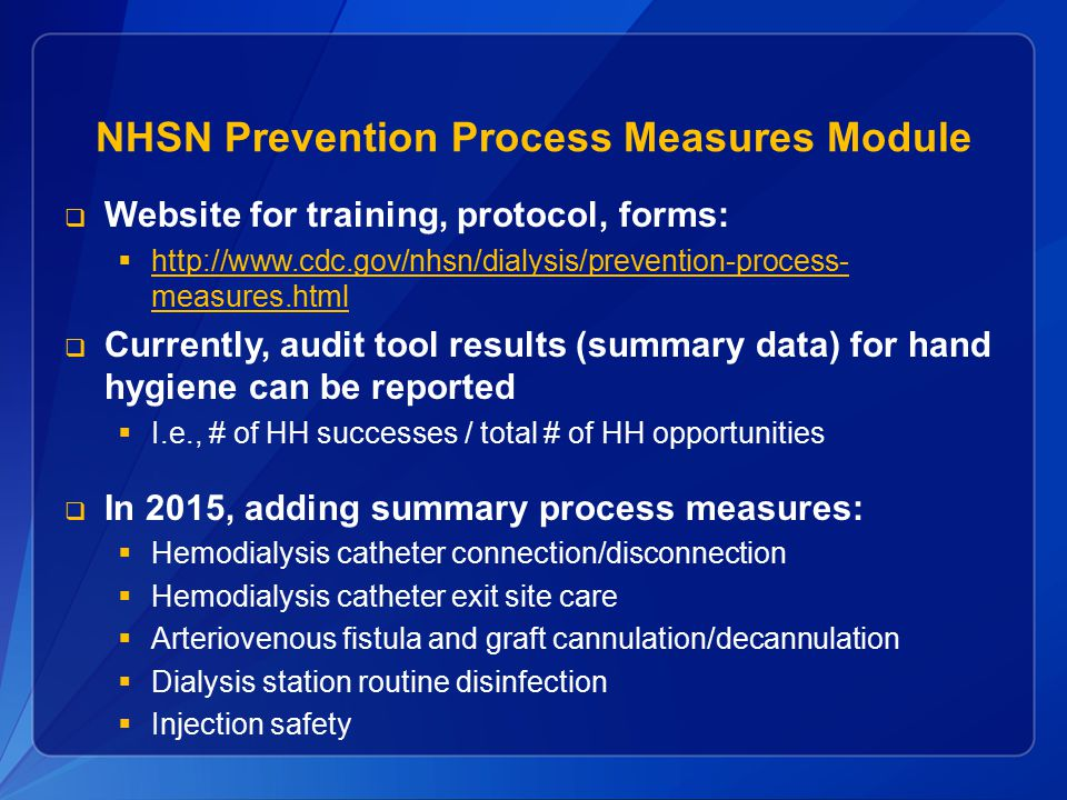 NHSN Prevention Process Measures Module