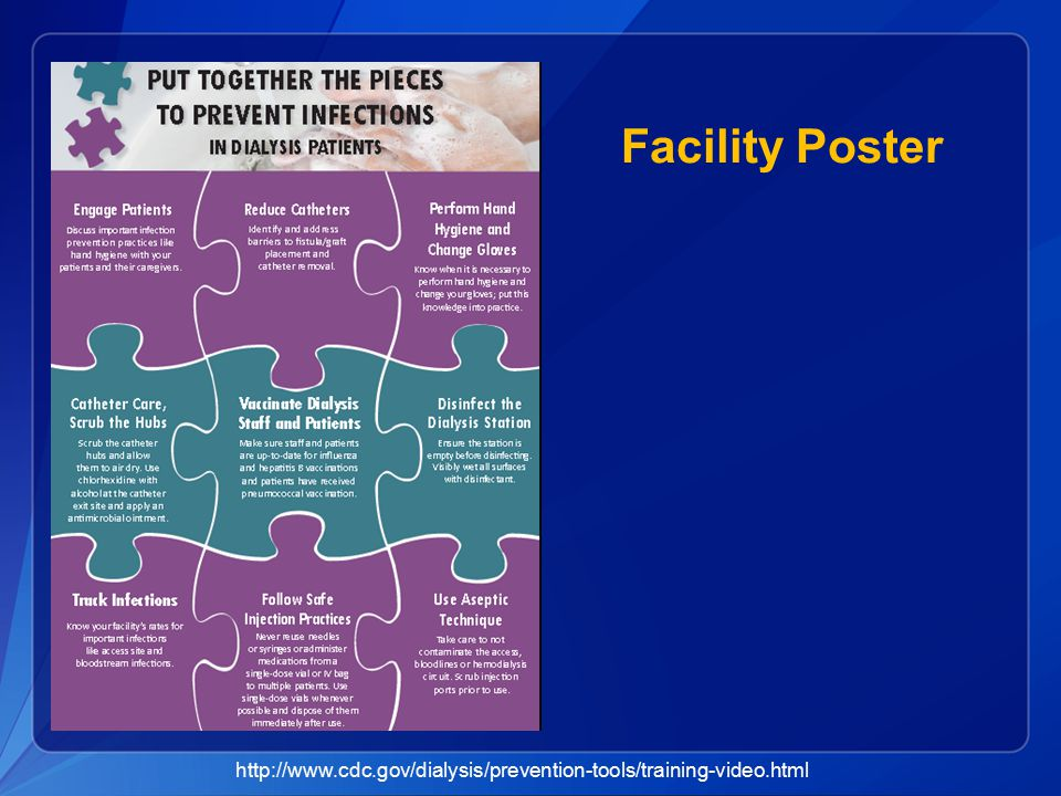 Facility Poster http://www.cdc.gov/dialysis/prevention-tools/training-video.html