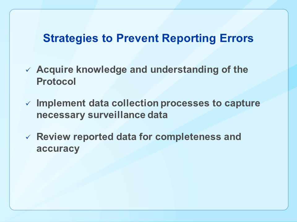 Strategies to Prevent Reporting Errors