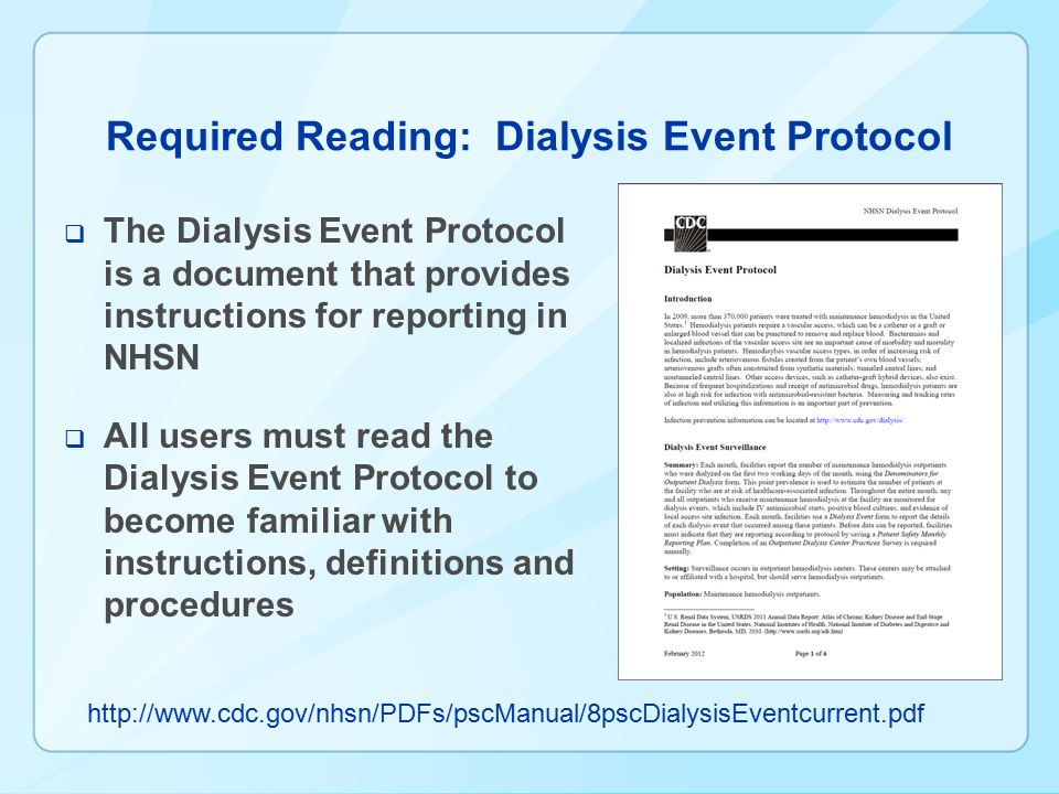Required Reading: Dialysis Event Protocol