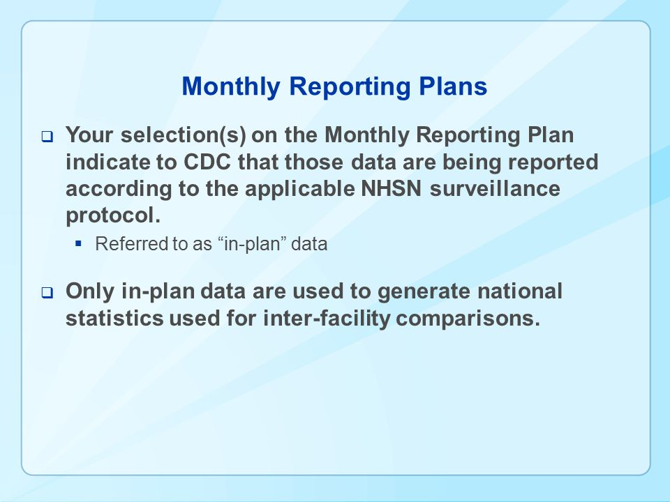 Monthly Reporting Plans