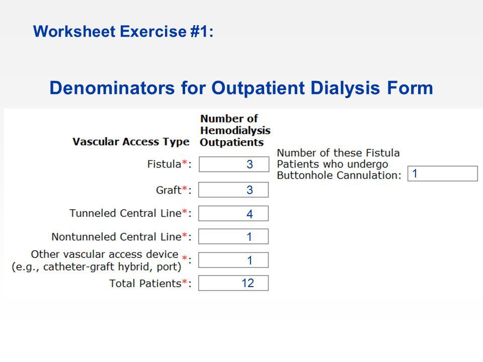 Denominators for Outpatient Dialysis Form