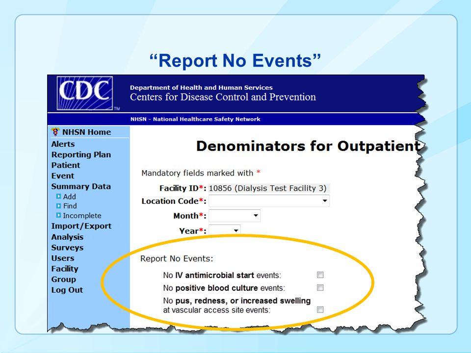 Report No Events