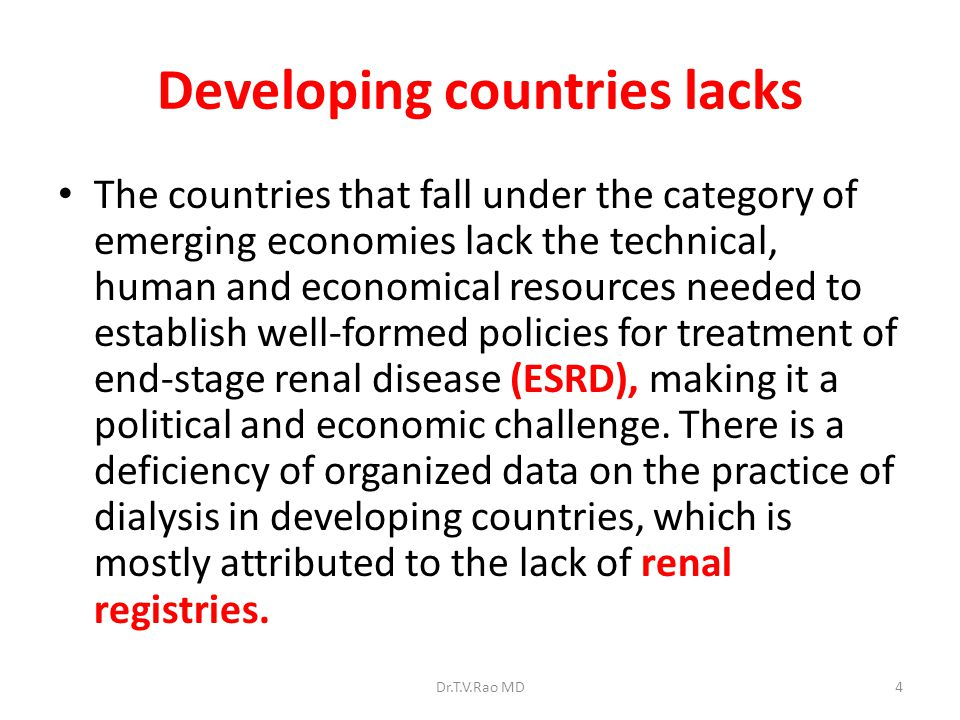 Developing countries lacks