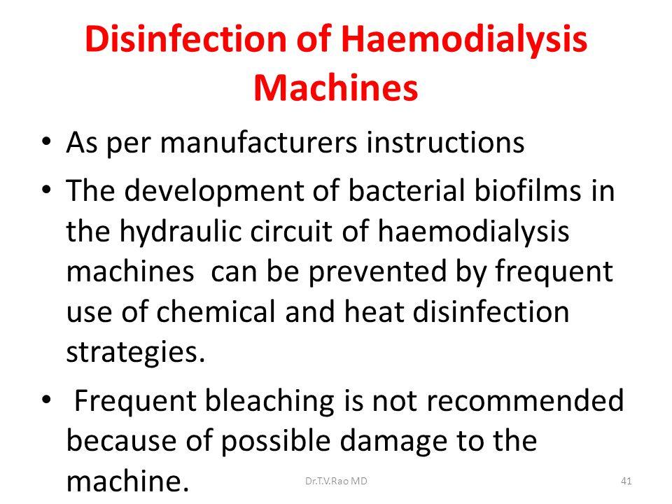 Disinfection of Haemodialysis Machines