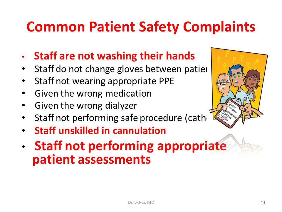 Common Patient Safety Complaints