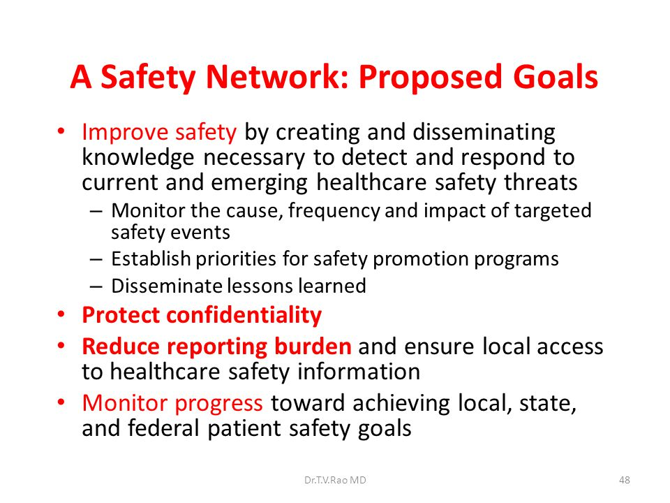 A Safety Network: Proposed Goals