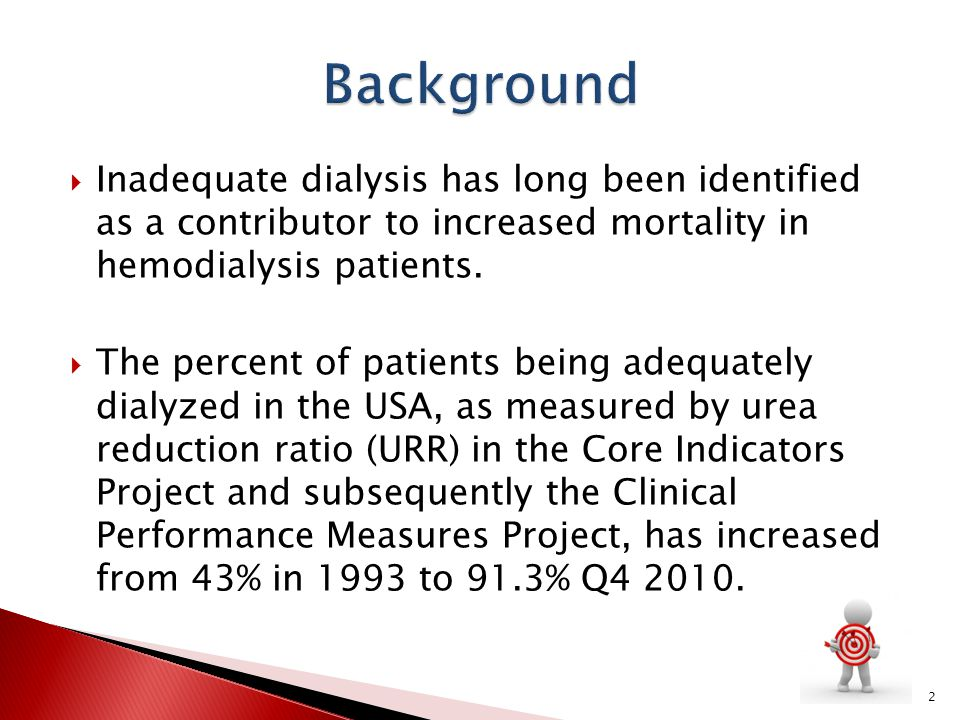 Background Inadequate dialysis has long been identified as a contributor to increased mortality in hemodialysis patients.
