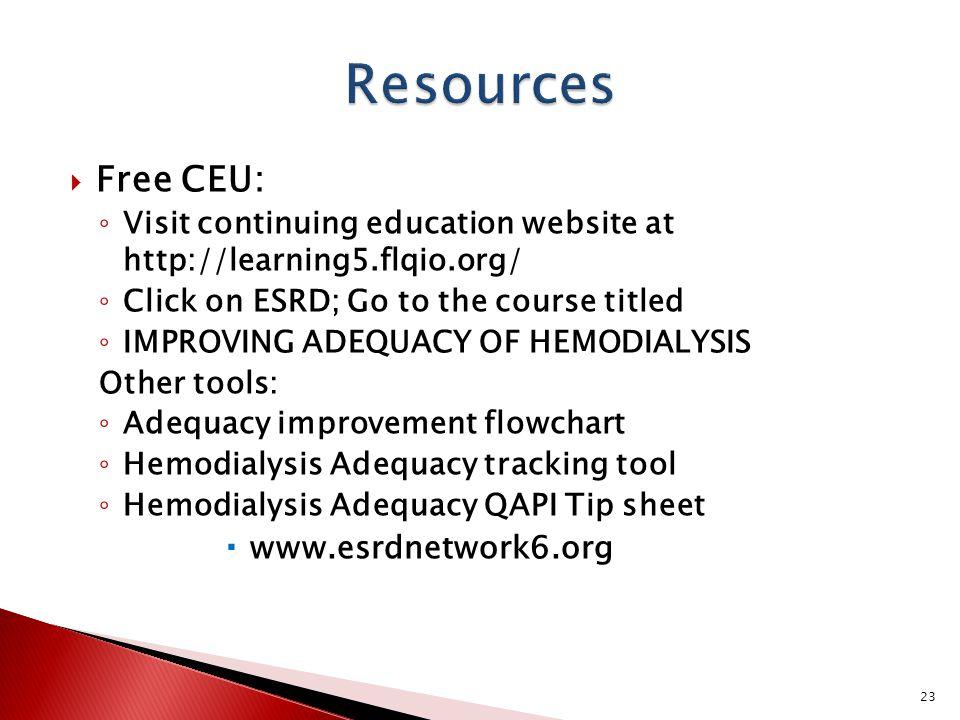 Resources Free CEU: www.esrdnetwork6.org