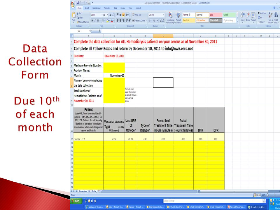 Data Collection Form Due 10th of each month