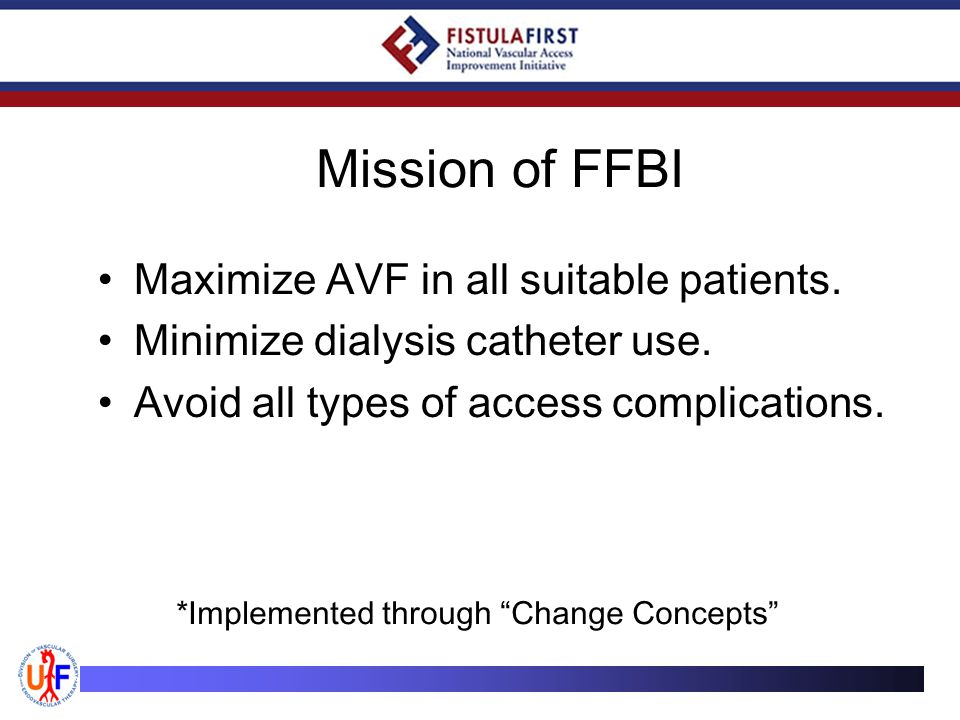 Mission of FFBI Maximize AVF in all suitable patients.