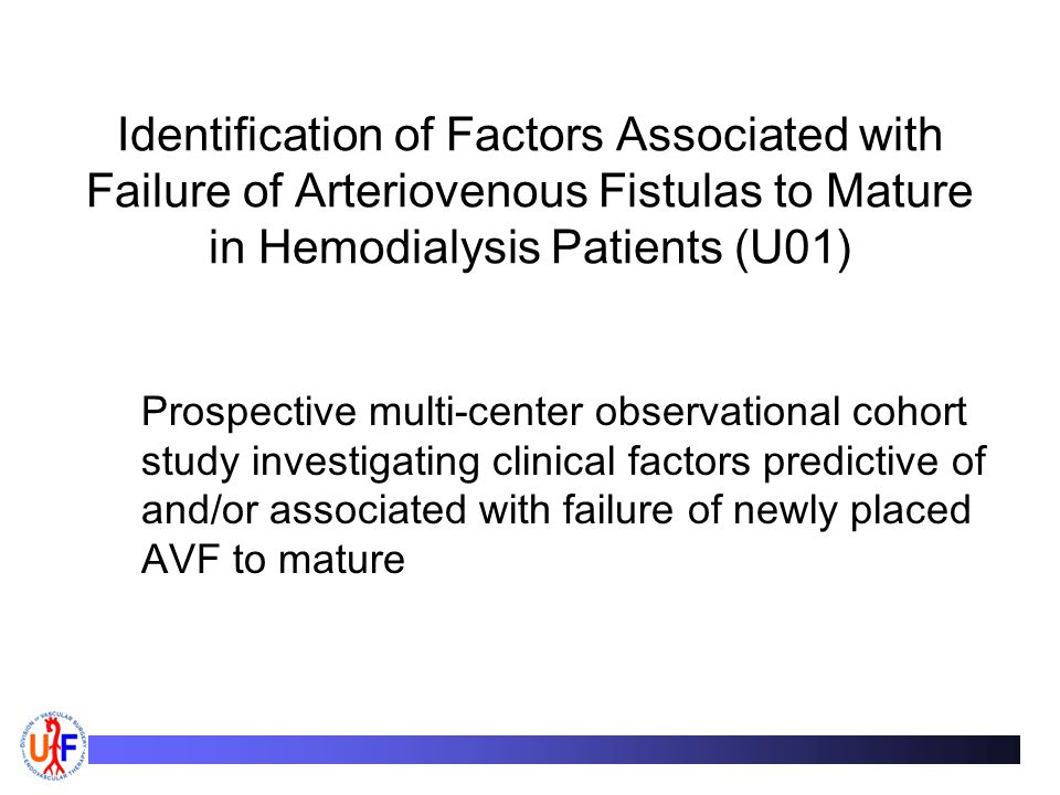 Identification of Factors Associated with Failure of Arteriovenous Fistulas to Mature in Hemodialysis Patients (U01)