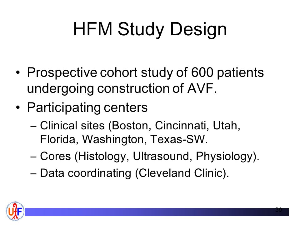 HFM Study Design Prospective cohort study of 600 patients undergoing construction of AVF. Participating centers.