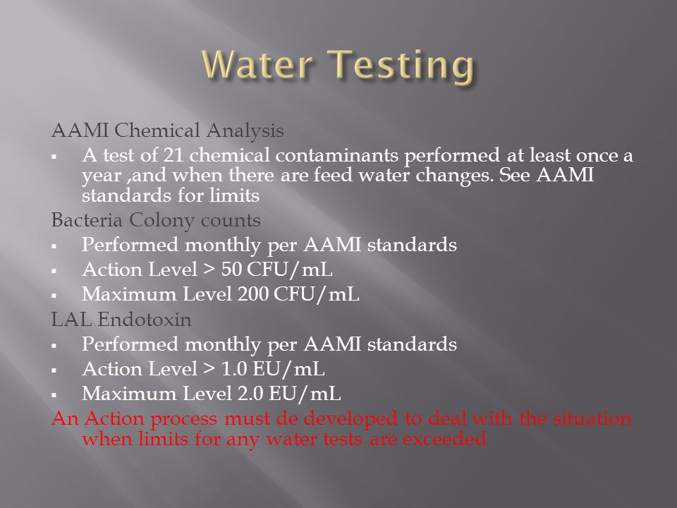 Water Testing AAMI Chemical Analysis