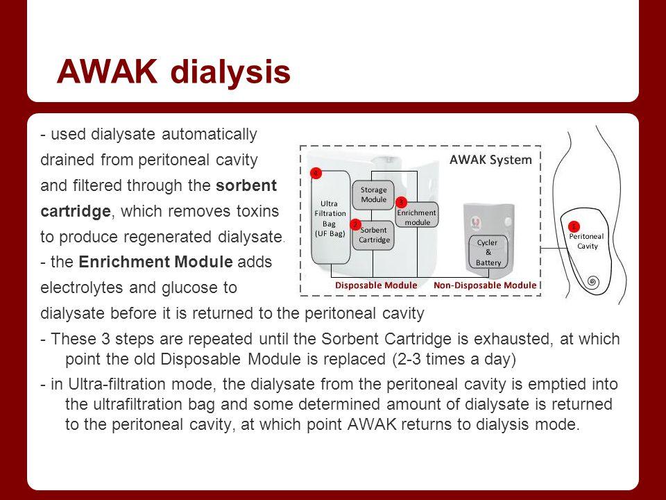 AWAK dialysis - used dialysate automatically