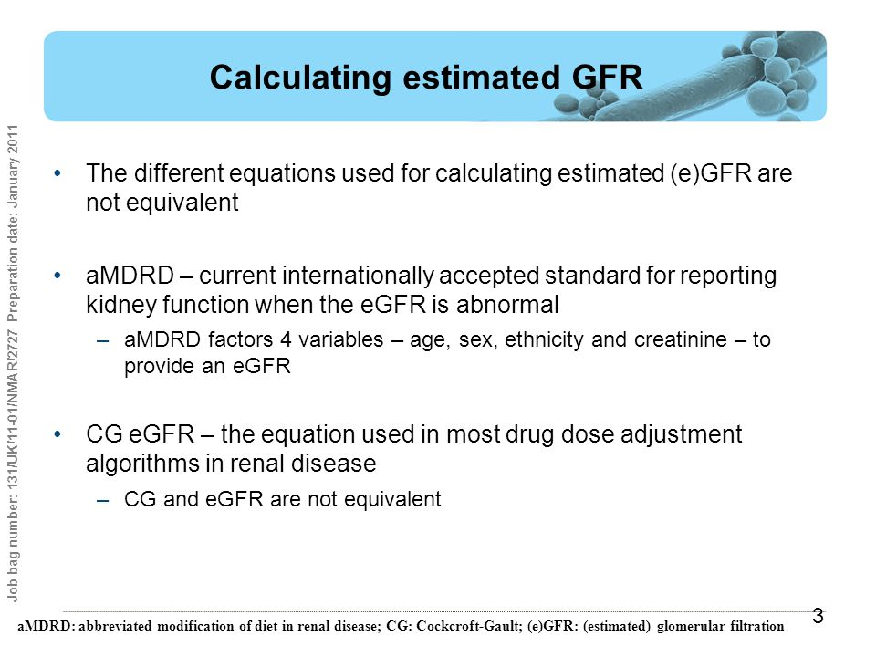 Calculating estimated GFR