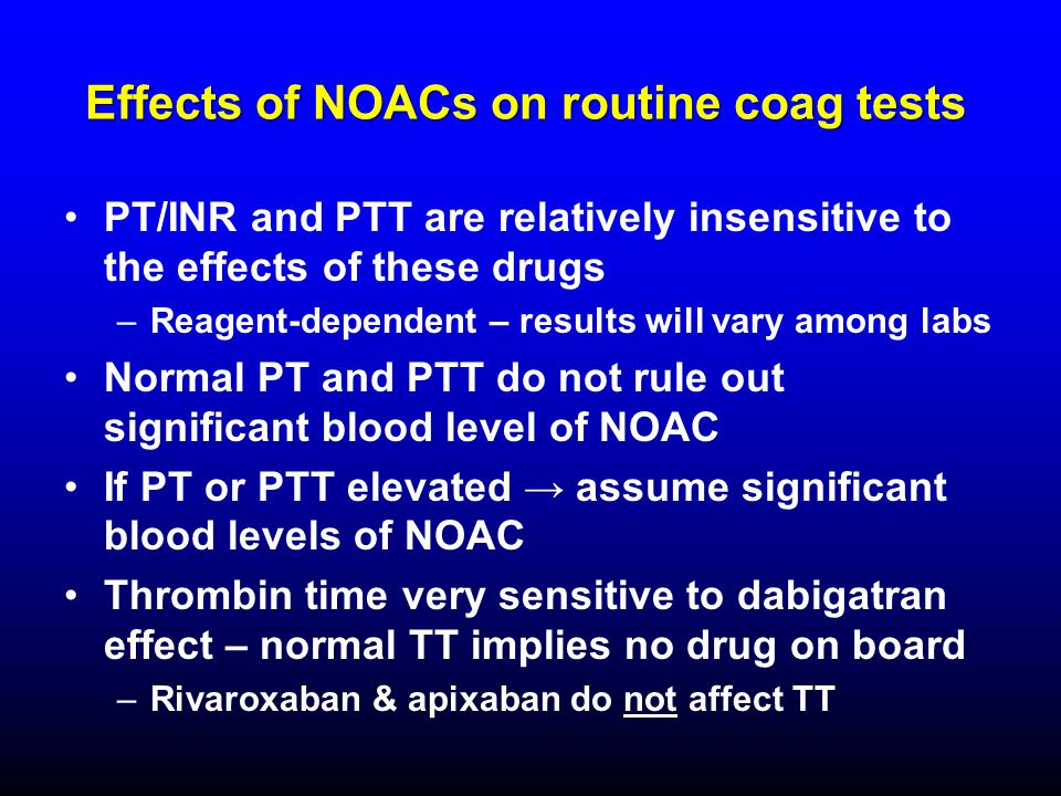 Effects of NOACs on routine coag tests