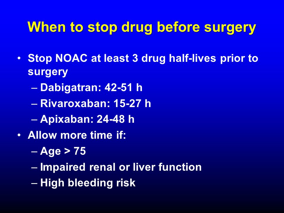 When to stop drug before surgery