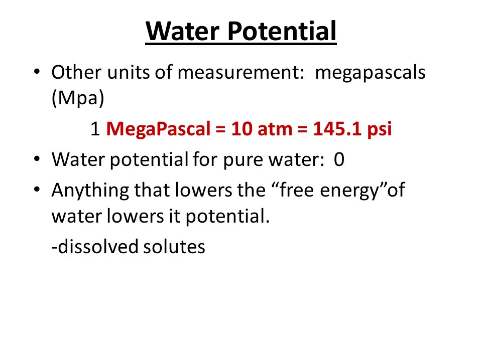 Water Potential Other units of measurement: megapascals (Mpa)