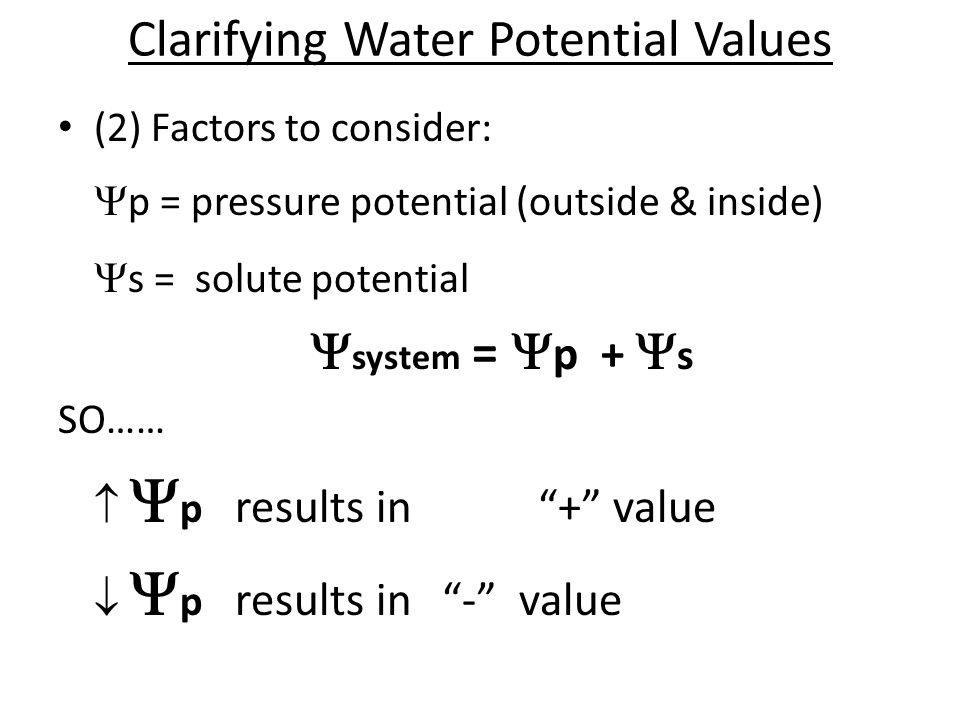 Clarifying Water Potential Values