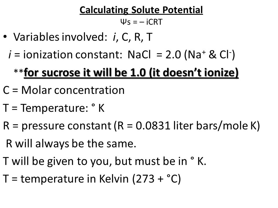 Calculating Solute Potential Ψs = – iCRT