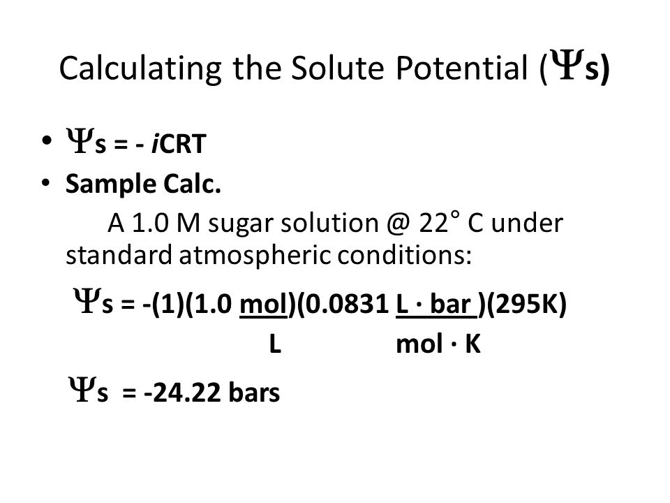 Calculating the Solute Potential (s)