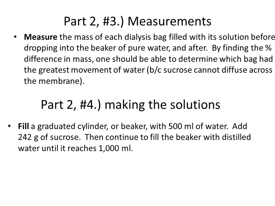 Part 2, #4.) making the solutions