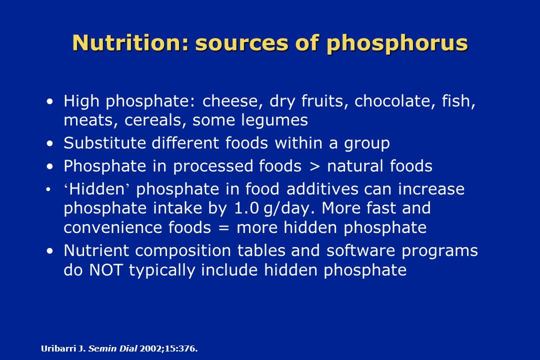 Nutrition: sources of phosphorus