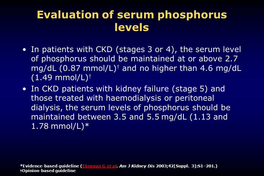 Evaluation of serum phosphorus levels