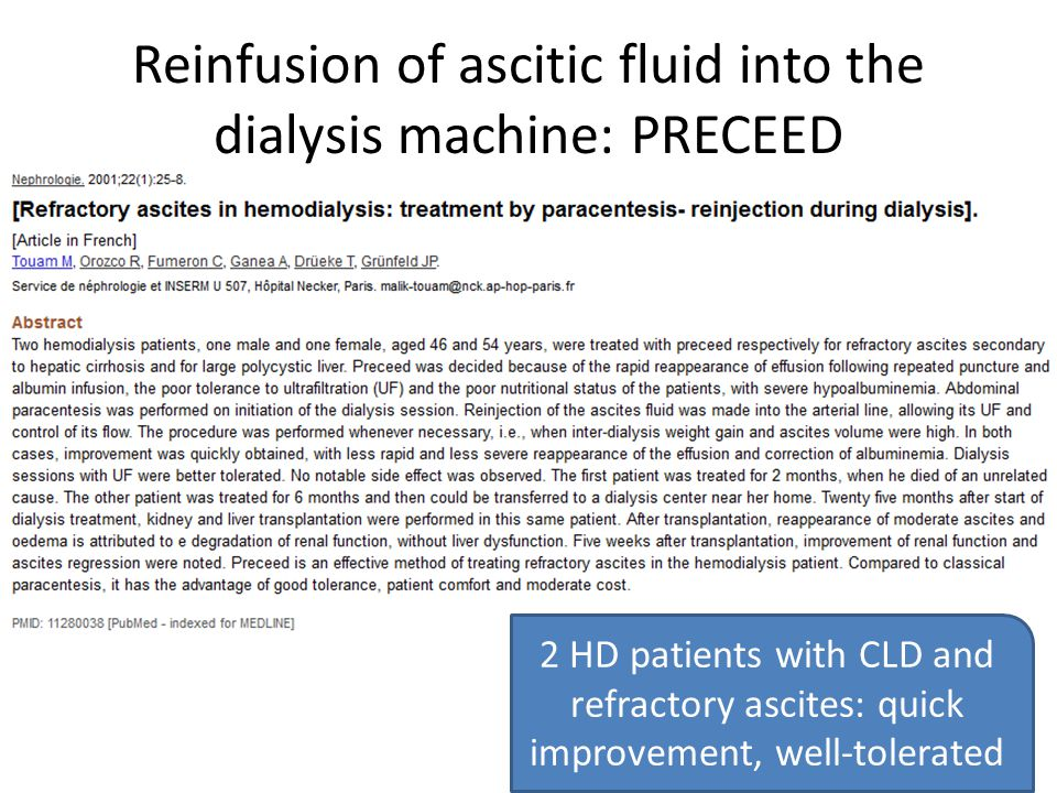 Reinfusion of ascitic fluid into the dialysis machine: PRECEED