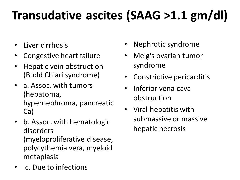 Transudative ascites (SAAG >1.1 gm/dl)