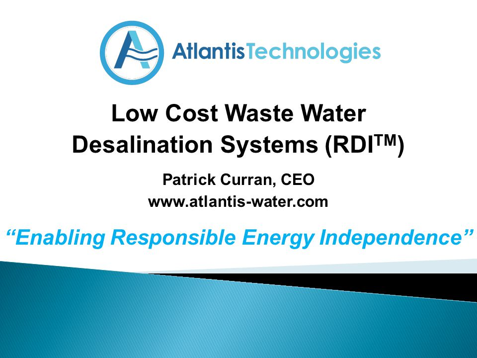 Low Cost Waste Water Desalination Systems (RDITM)