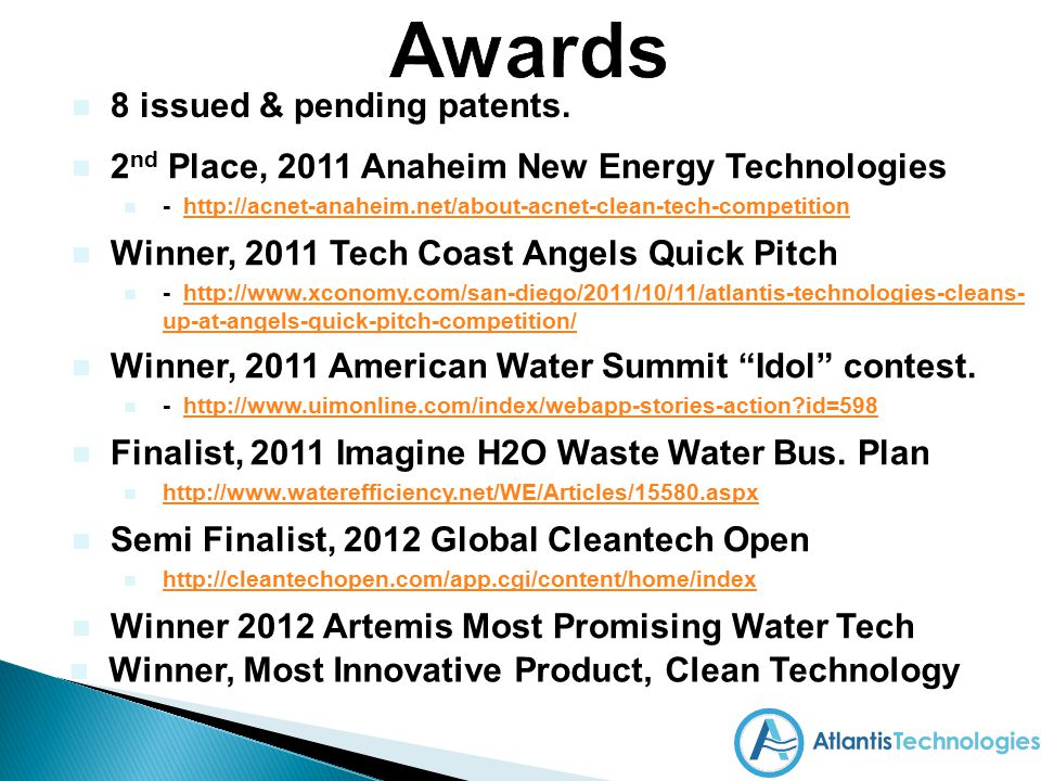 Awards 8 issued & pending patents.
