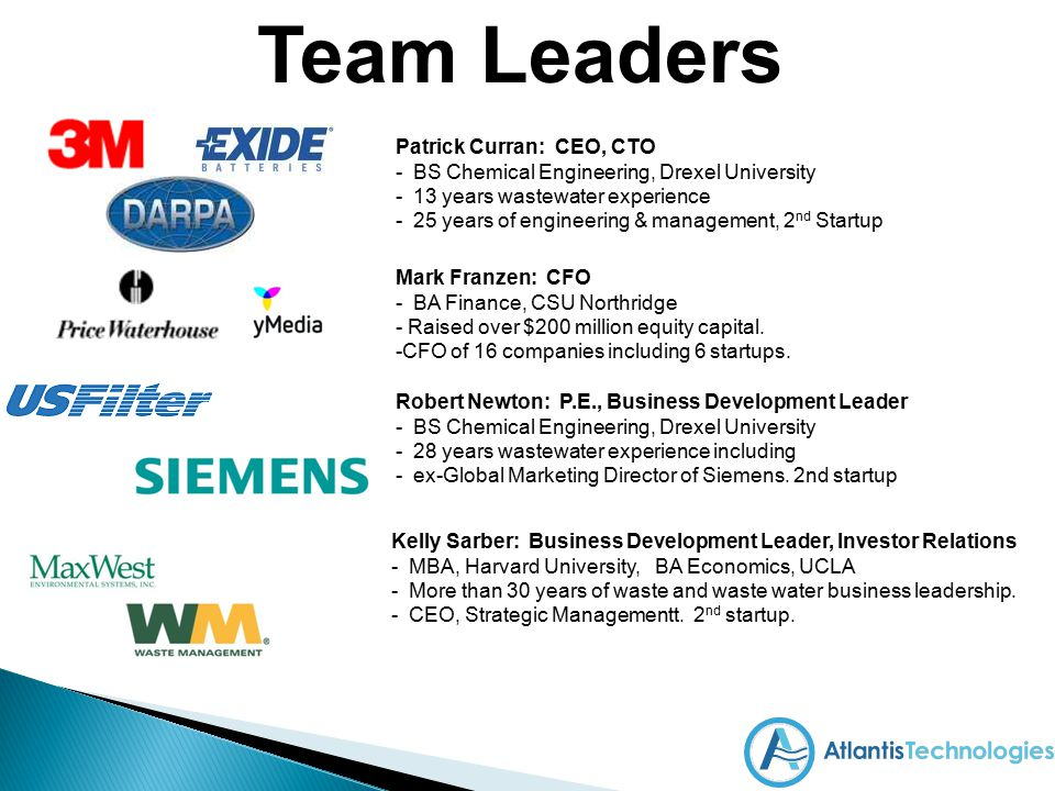 Team Leaders Patrick Curran: CEO, CTO