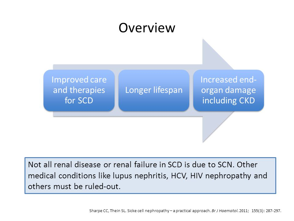 Overview Improved care and therapies for SCD Longer lifespan